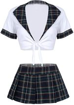 Agoky Women's School Girl Uniform Role Play Costume Outfits Crop Top with Mini P image 4