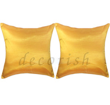 2 Silk Throw Couch Bed Decorative Pillow Covers - YELLOW GOL - $13.99