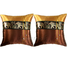 Set 2 Silk Throw Pillow Cover with Brown / Gold Elephants st - $14.99