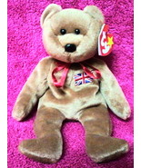 BEANIE BABY BRITANNIA TY BEAR Brown England UNION JACK FLAG Embroidered STAMP UK - $28.63