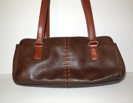 Fossil Pebbled Leather CORONADO Hobo Bag Two Tone Brown ZB7023  - $24.00