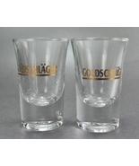 2 Goldschlager Clear Flared Shot Glasses Gold Lettering - $7.50