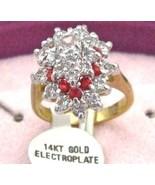 ESTATE store14k G.P.SWAROVSKI Ruby crystal Ring sz5-6-7 - $16.01