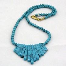 "VINTAGE Turquois w/ black Matrix  EGYPTIAN NECKLACE 16"" - $16.01"