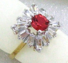 ELEGANT 14K GOLD OVERLAY SPARKLE RED/ CLEAR CRYSTAL WOMEN'S COSTUME RING... - $13.99