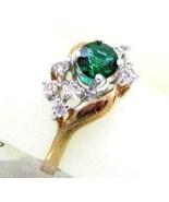 VINTAGE 14K GP. Emerald crystal RHINESTONE COCKTAIL RING sz  - $14.03