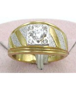 VINTAGE style heavy 18K GE silver 6mm CZ WIDE BAND MEN'S COCKTAIL RING s... - $19.95