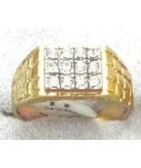 VINTAGE ANTIQUE STYLE heavy 18kt HGE CUBIC ZIRCONIA MEN'S COCKTAIL RING ... - $18.99