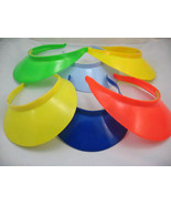 6 unisex boys girls party green red blue yellow plastic sun visors fit a... - $3.99