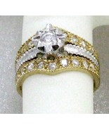 UNEQUE ANTIQUE  EGYPTIAN STYLE 18kt HGE C.Z. ENGAGE /WEDING Ring set sz 7 - $17.68