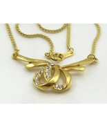 VINTAGE RHINESTONE RIBBON PENDANT GOLD P. CHAIN NECKLACE CHOKER from Jap... - $8.95