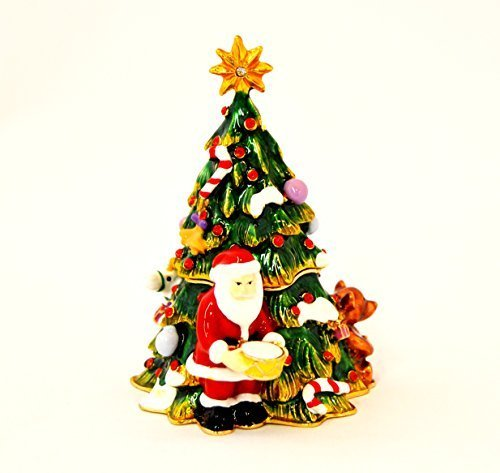 Ciel Collectables Christmas Tree Trinket Box with Santa Clause, Bear, Gifts