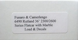 Funaro & Camerlengo HO Rutland 2300/2600 Flatcar with Marble Load,  Kit 6490 image 3