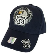 USA Men's Patriotic Eagle & Route 66 Adjustable Baseball Cap (Navy) - $12.95
