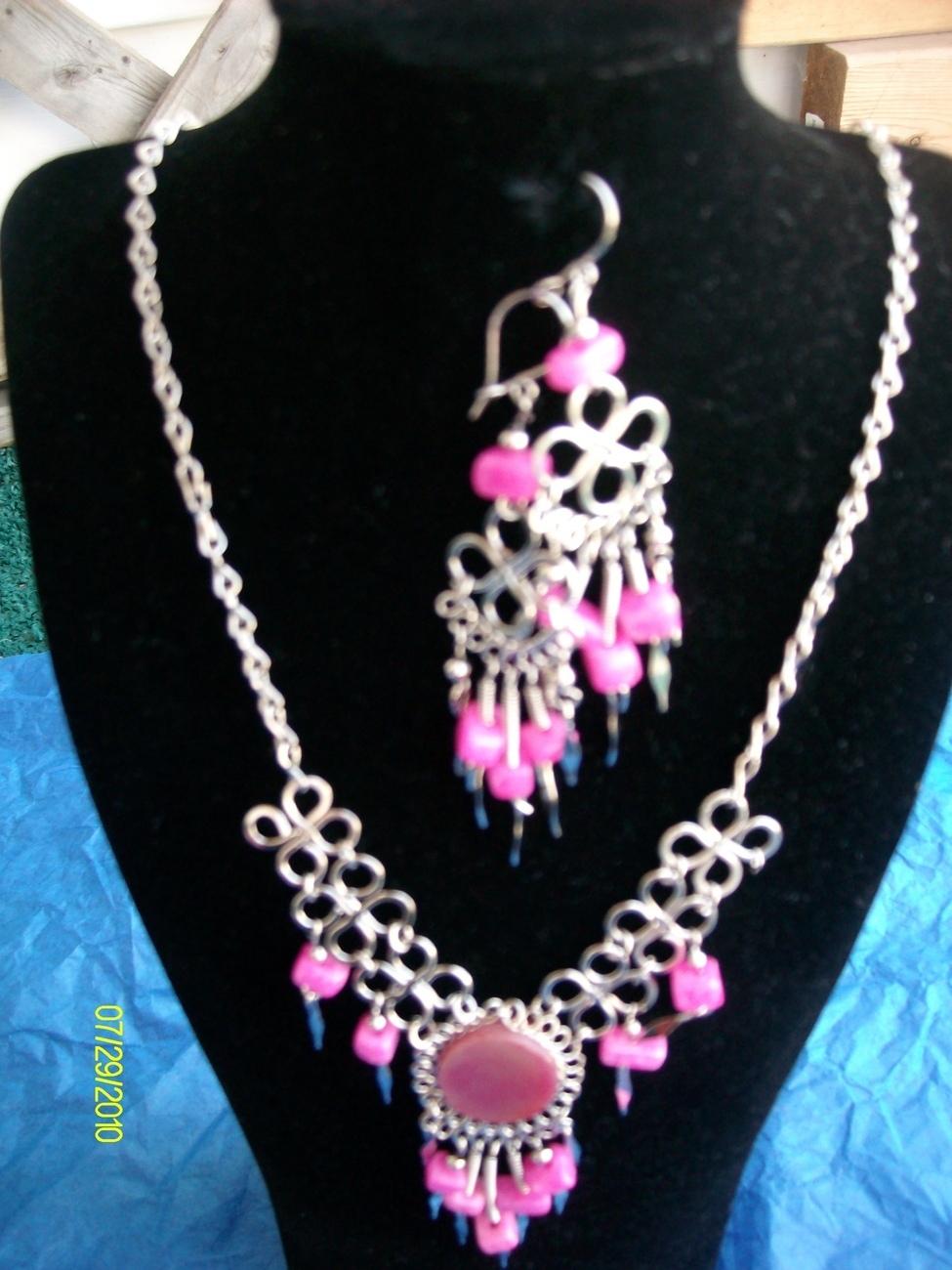 Pink Alpaca Necklace & Earring Set (J 6 ) Bonanza
