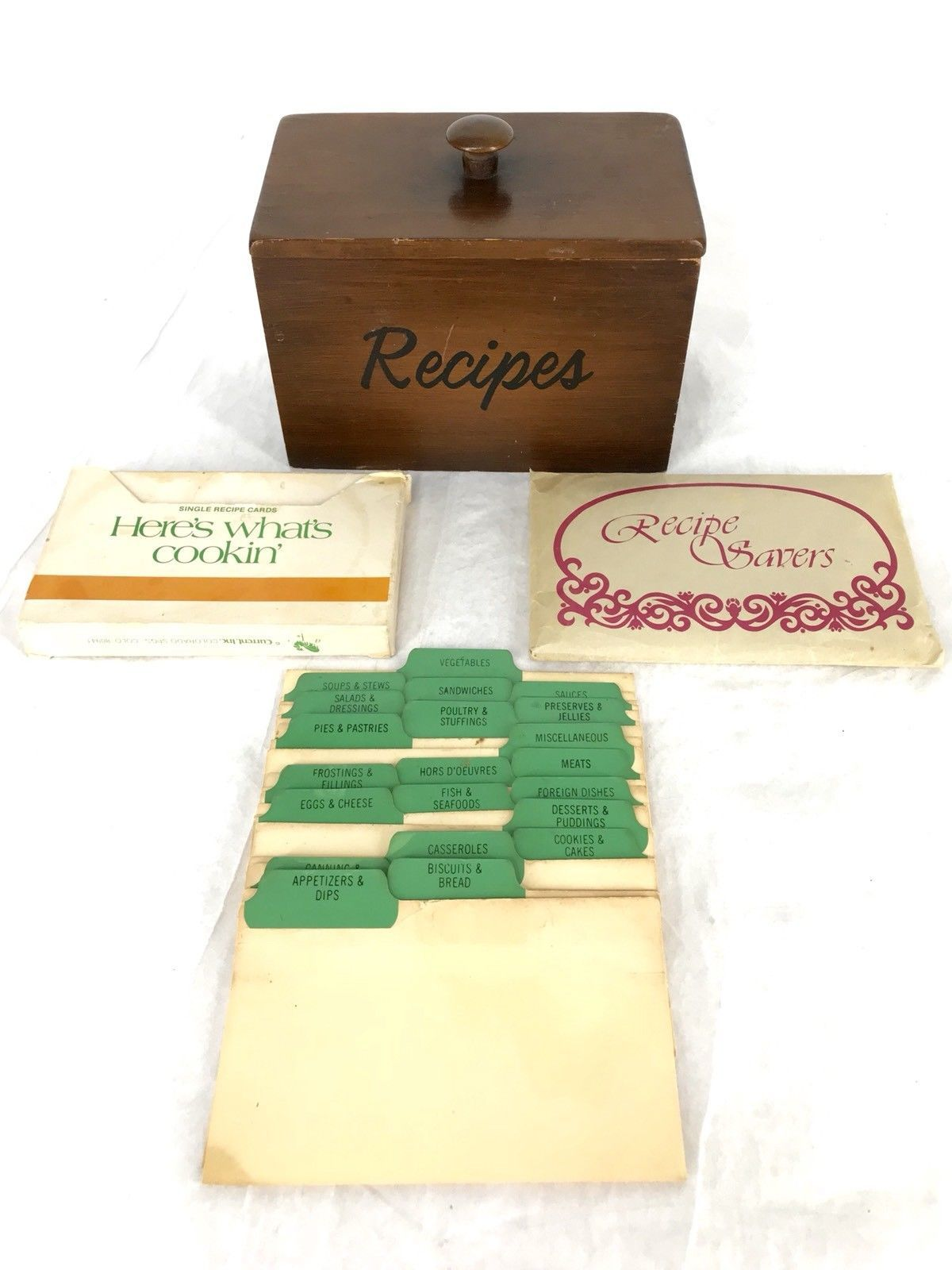 Vintage Wood Recipe Box Category Index Cards And Blank Cards And Recipe Savers