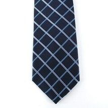Club Room Neck Tie Blue White Arthur Oxford Grid 100% Silk Mens New - $14.99