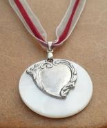 Leather and Lace Heart Necklace 2 Valentine's Day Heart Hand Made In USA - $22.00