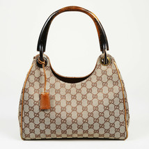 Vintage Gucci Monogram Canvas Wood Shoulder Bag - $385.00