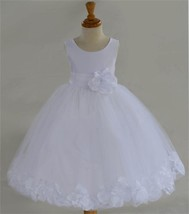 new fashion family party prom formal dress girl,solid white princess dr... - $49.99