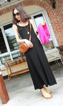 363f082 Sexy Cotton long swing dress, Free size, fit to size S-XL, black - $26.00