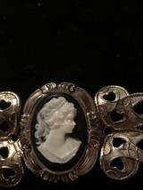 Vintage Portrait Cameo Silver Tone  Filigree Brooch Pin Preowned EUC - $14.85