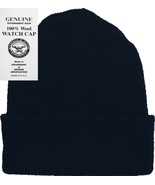 Navy Blue 100% Wool Hat Warm Winter Knitted Watch Cap USA Made - $10.99