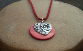 Shell Heart Leather Necklace Hand Made In USA Valentine's Day Gift for Her - $22.00