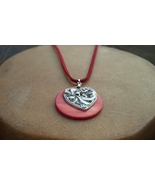 Shell Heart Leather Necklace Hand Made In USA V... - $22.00