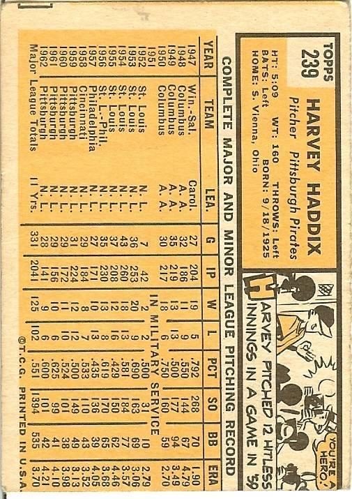 1963 Topps dodger sandy koufax & pittsburgh pirates harvey haddix misprint card