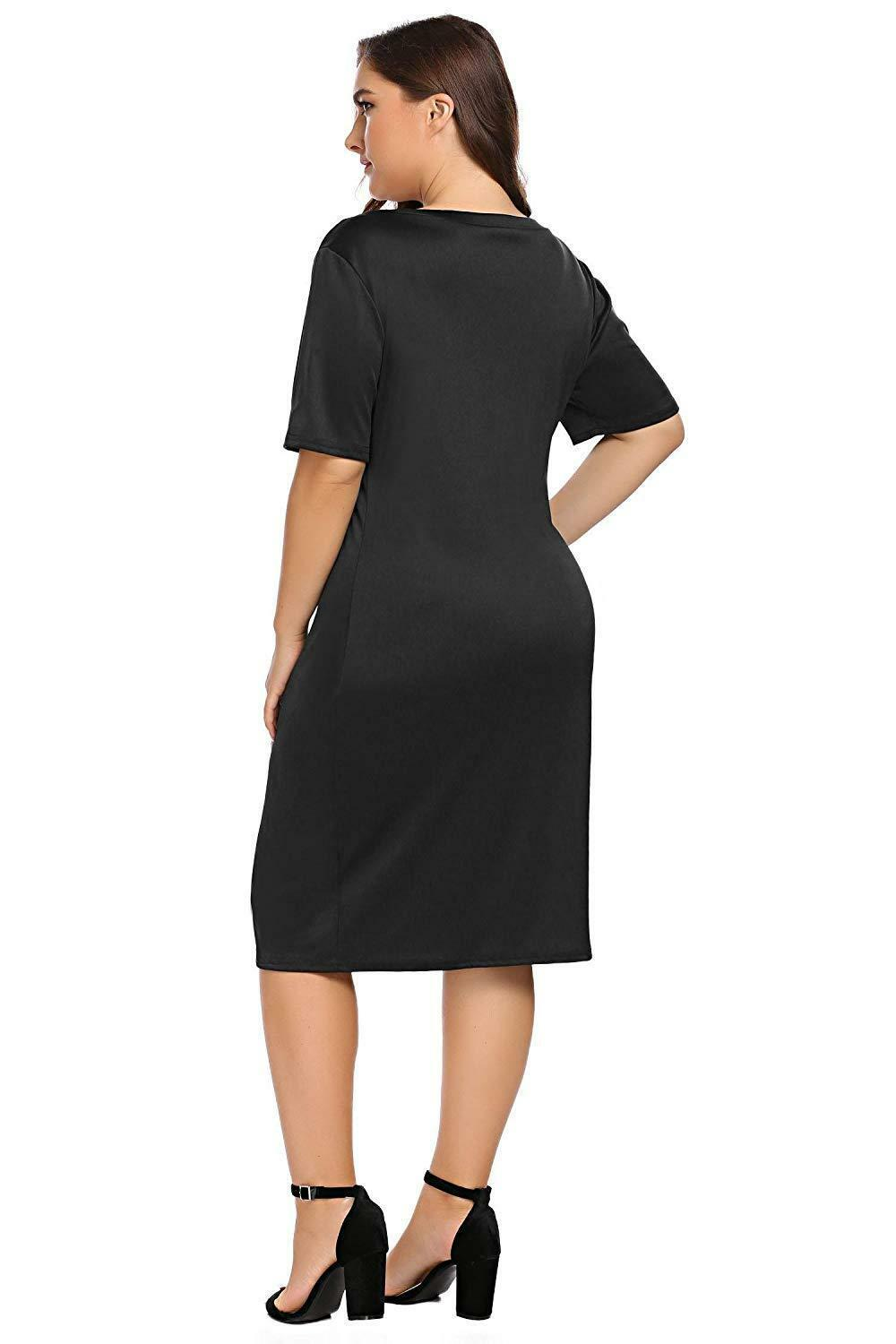 Zeagoo Women Plus Size Loose Fit Short Sleeve O-Neck Casual Midi Dress image 11