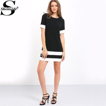 Casual Mini Dresses New Autumn Style Black White Patchwork Crew Neck Sho... - $44.90
