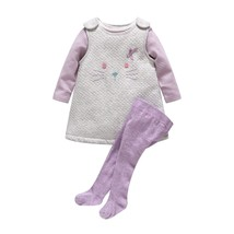 baby girl thick cotton cat dress+stripe romper+pantyhose - $34.86+