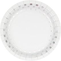"Holiday Sparkle Foil 8 Ct 7"" Silver Dessert Cake Plates Christmas - $4.99"