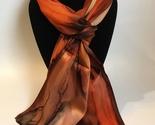 Hand Painted Silk Scarf Pumpkin Spice Burnt Orange Brown Ladies New Gift