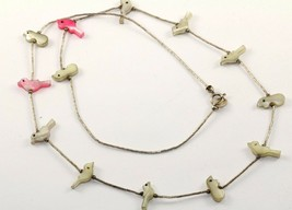 VINTAGE SOUTHWESTERN MOP PINK WHITE BIRD ON BRANCH FETISH NECKLACE NC 590 - $38.99