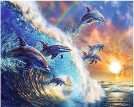 """Dolphin Animal 16X20"""" Paint By Number Kit DIY Acrylic Painting on Canvas Unframe - $8.99"""
