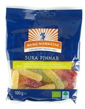 Kung Markatta Sura Pinnar Organic Sour Sticks Candy 100 gram Made in Sweden - $7.91