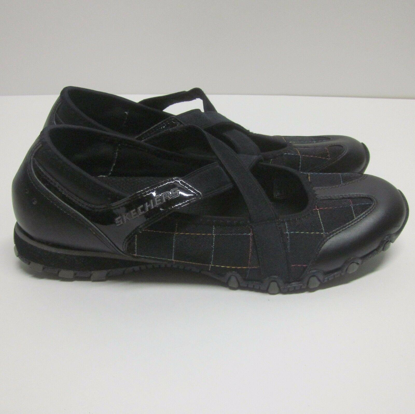 SKECHERS FRISKY BIKERS 21321 WOMEN'S (8.5) BLACK SLIP-ON SNEAKER BUNGEE LACES