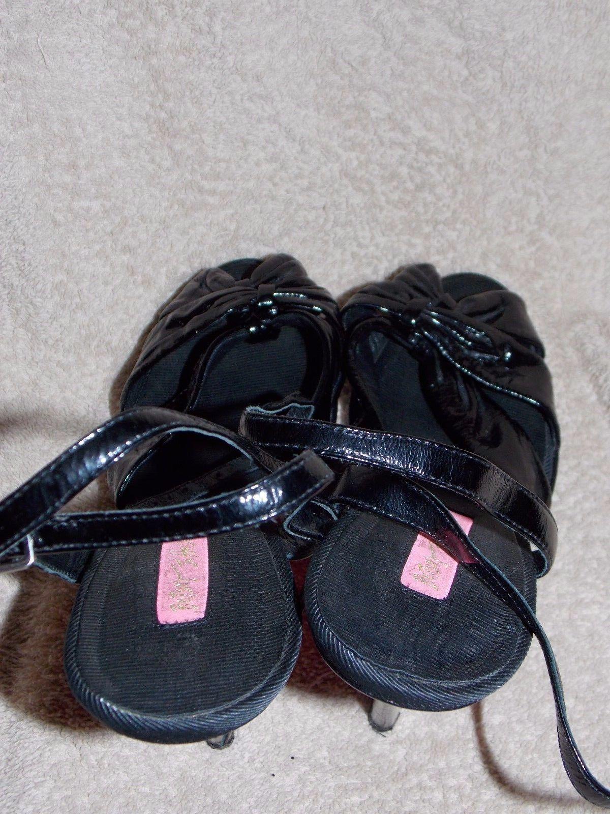 Betsy Johnson Black Patent Leather STRAPPY Black Heels 8M Women Used