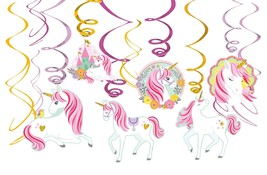 Amscan Magical Unicorn Value Pack Foil Swirl Decorations Party Supplies ... - $8.99