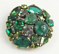 VINTAGE ESTATE Jewelry SIGNED WEISS GREEN RHINESTONE ROUND BROOCH GREAT ... - $45.00