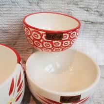 Nesting Measuring Cups, 4 piece set, Vintage ceramic, Temp-Tations Red Floral image 5
