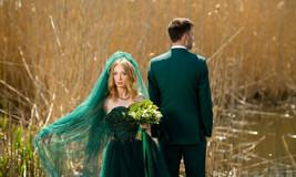 Emerald wedding dress,green wedding dress,color wedding dress,lace dress - $903.72