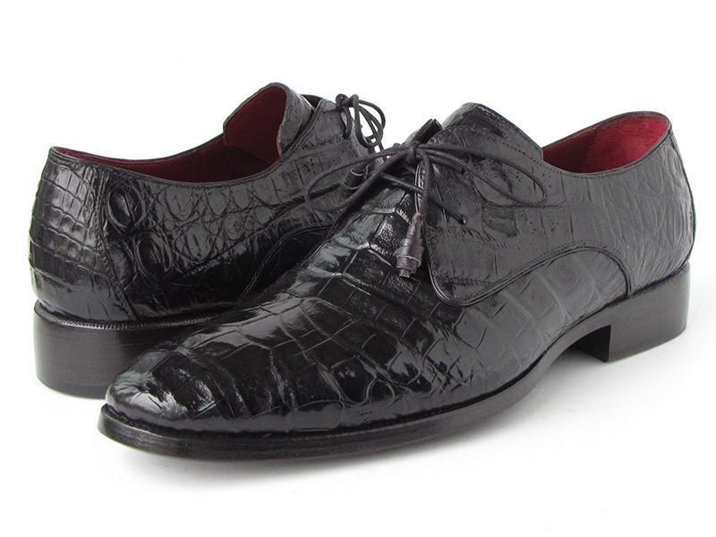 Paul Parkman Men's Black Genuine Crocodile Derby Shoes (ID#55W77-BLK)