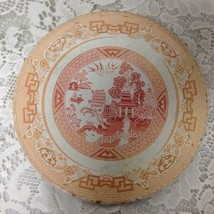 Vintage, Rare, Red-Blue Willow, 7in Tin Round Hot Pad- Hot Plate (#3) - $20.85