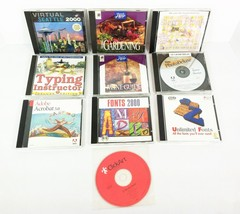 Lot 10 PC Mac CD Software Gardening Wine Quilt Adobe Acrobat Photo Typin... - $44.54