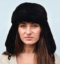 Black Sheared Beaver Fur Women's Men's Trapper Ushanka Aviator Hat S M L... - $163.41