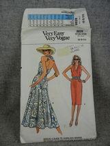 Misses 6-10  Halter style Dress 2 lengths Straight  Flared skirt Vogue 9... - $30.00