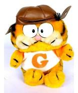 Garfield Brown Aviator Hat Pilot Plush Orange White Brown Stuffed Animal... - $18.50